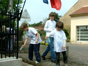 Les enfants ont semé des bleuets autour du monument.